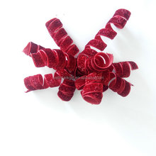 Holiday Decorations Glitter Fabric Curly Ribbon Bow