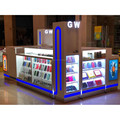 blue led light decoration retial mobile phone kiosk with phone display counter for UK