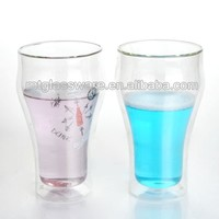 Hot selling fancy decal double wall glass drinking water glass