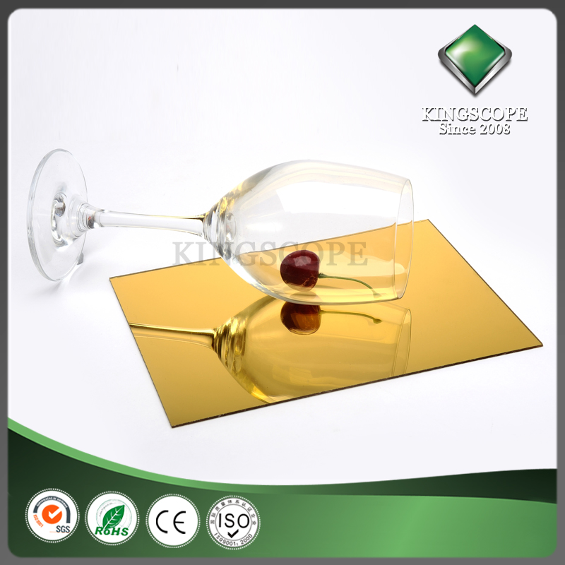 Solid advertising materials 2mm gold cast acrylic mirror sheet