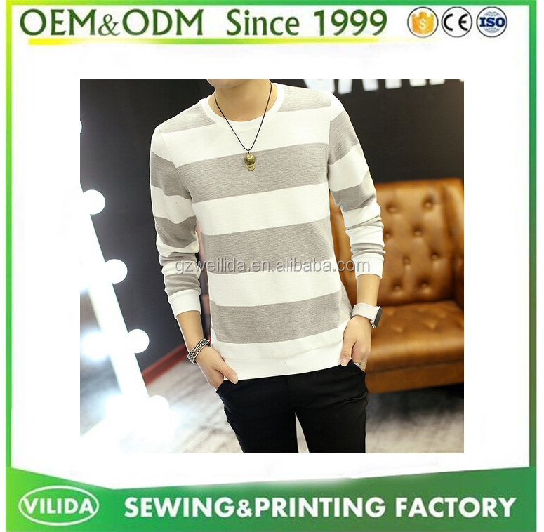 Customize Cheap Promotional Knitted 100% Cotton Stripe T Shirt for Men OEM