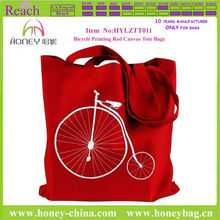 2013 Penny Farthing Bicycle Printing Red Canvas Tote Bag