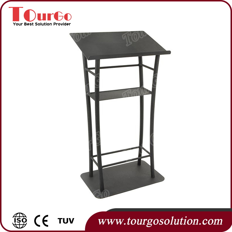 Aluminum Lectern Design Stage Podium Curved Black Steel Lectern with Textured Finish - TourGo