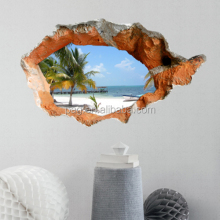 PAG Creative 3D Window Beach Fashion Mural Removable Wall Stickers Art Vinyl Decal Room Decor