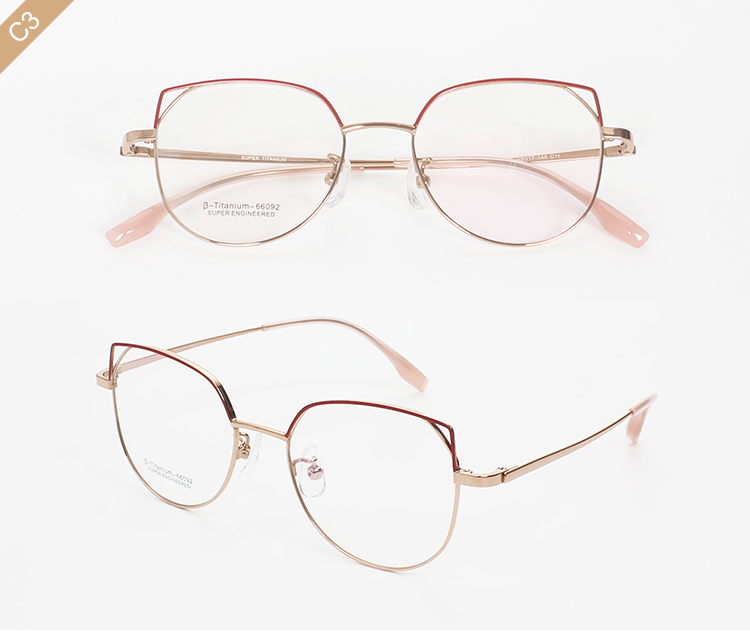 High Quality Fashion Titanium Optical Frame cat eye eyeglasses 66092
