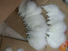 Custom die casting colorful fox tail fur keychain