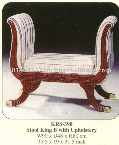 Stool King B with Upholstery Mahogany Indoor Furniture