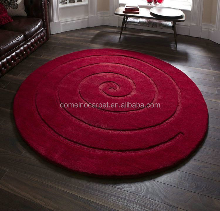 Round rugs Circled design carpets Red patterned Rugs
