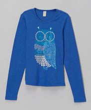 Online Hot Sale Cobalt Regal Owl Tee Girls Long Sleeve Blouse Children Tshirt For Fall Z-GT80812-15