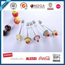 colorful polyresin fruit or dessert fork set with as gift set