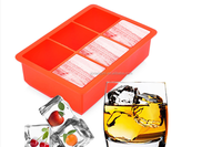 Hot sale food grade FDA and LFGB Big size square shape silicone ice cube tray