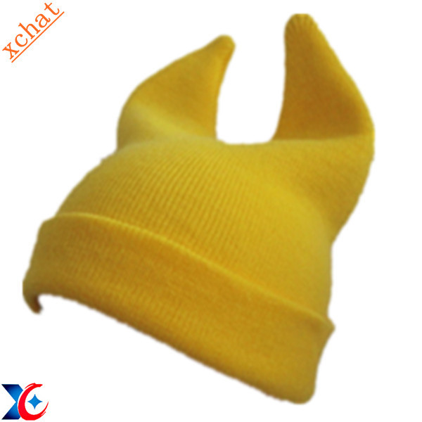yellow custom winter knitting cap baby hat with ear