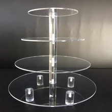 Customized 4 Tier Round Acrylic Cupcake Stand, Acrylic Wedding Cake Cupcake Stand