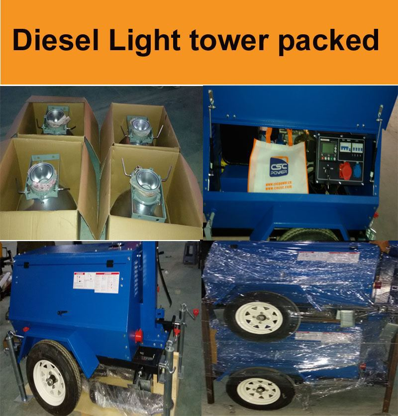 Hot sale high quality trailer mounted generator with lighting tower low price