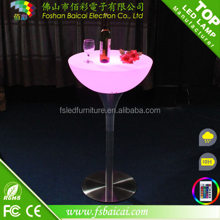 Outdoor Rechargeable Cylindrical High Bar Table led cocktail table