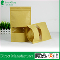 Top quality stand up clear window brown kraft paper coffee bags