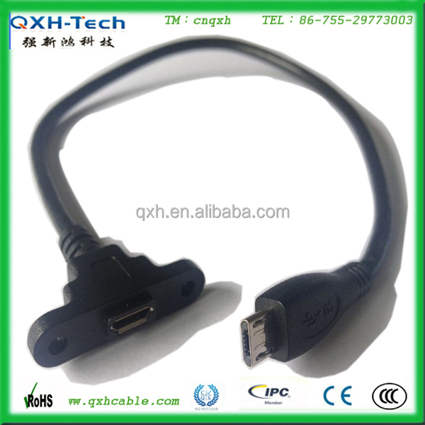 Micro USB Female Panel Mount to USB Micro Male Cable