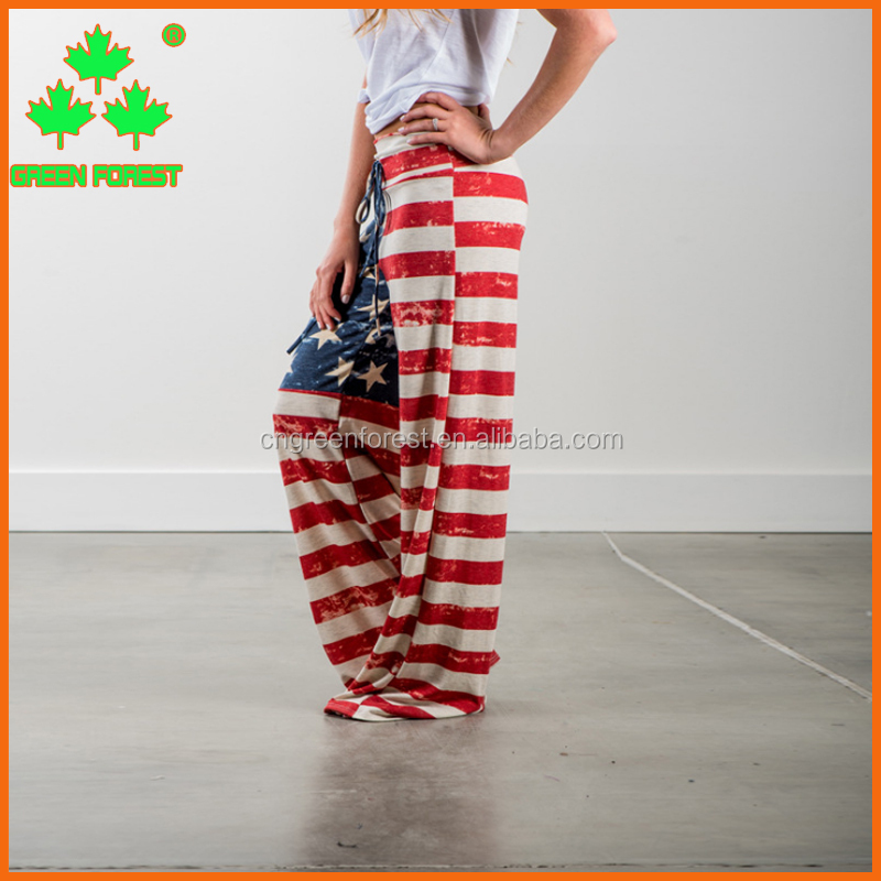 women american flag jogger trousers with drawstring
