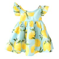 ShiJ 2016 DG New Print Design Lemon Ruffles Baby Girls Dresses