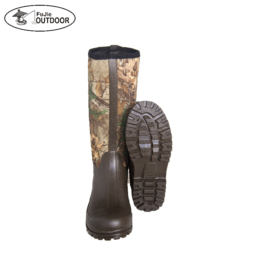 High Quality Mens Waterproof Camo  Hunting Boots Outdoor Neoprene Rain Boots