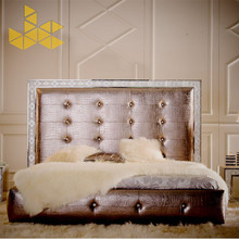 King bed by solid wood frame and genuine leather for sweet bedroom furniture made by JL&C Furniture