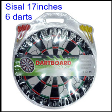 17inches / 6 darts / custom printing sisal bristle dartboard dart board set