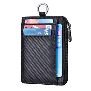 Private Label Carbon Fiber Wallet RFID Blocking With Coin