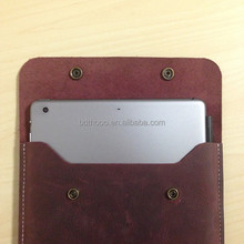 custom high quality retro wine red handcraft genuine leathe For ipad mini pouch, leather bag, for ipad mini leather pouch