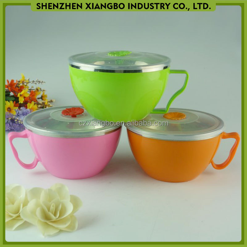 stainless steel insulated noodle bowl with lid HN-08