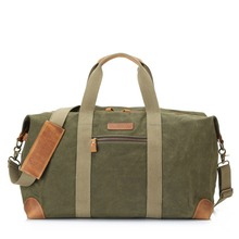 Retro Vintage Waxed Leather Canvas Duffle Bag Holdall Weekend Gym Travel Bag