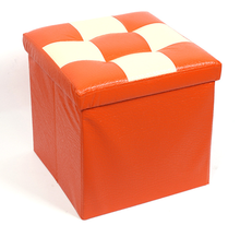 New Kids Orange Leather Ottomans Stool Microfiber Storage Ottoman With Tray