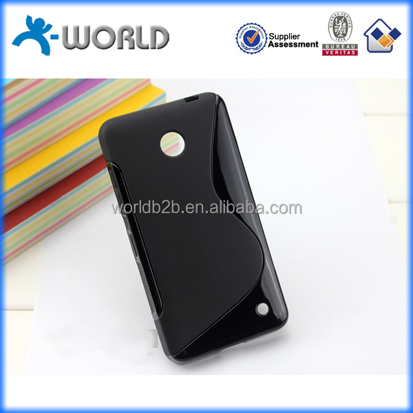 Black s line tpu covers for mobile phones, wholesale price factory case for Nokia Lumia 630