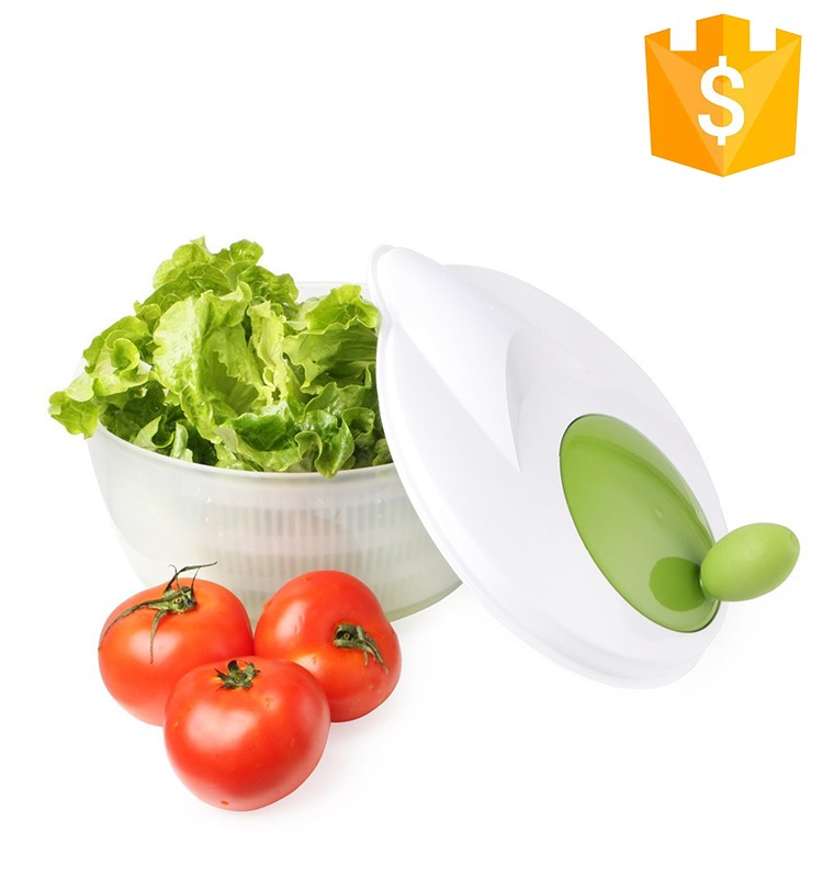 Multifunctional plastic salad bowl / salad spinner with fork and spoon
