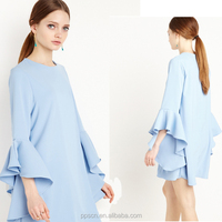Summer new arrival Fashion blue and pink color available A line OL style lady dress