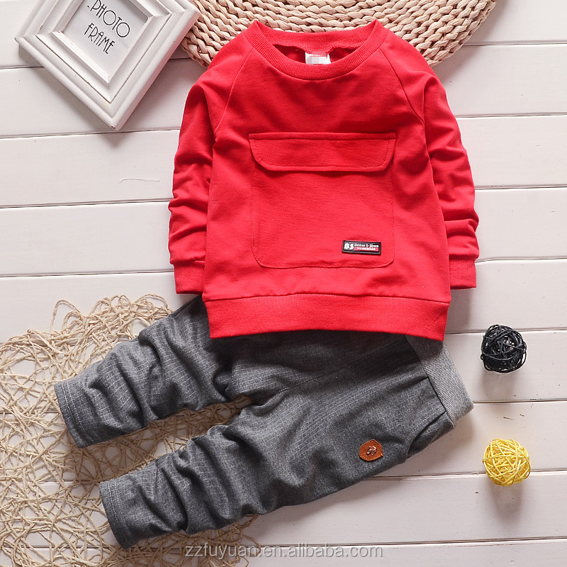 2017 new arrival 0-4 years kids cotton casual long sleeve clothing sets for spring and autumn
