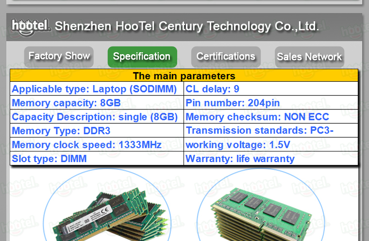Factory price High quality 8gb ddr3 ram for laptop ddr3 8gb 1333mhz