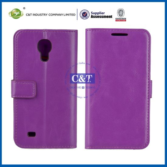 C&T wallet card-slot pu leather cell mobile phone case for samsing s4