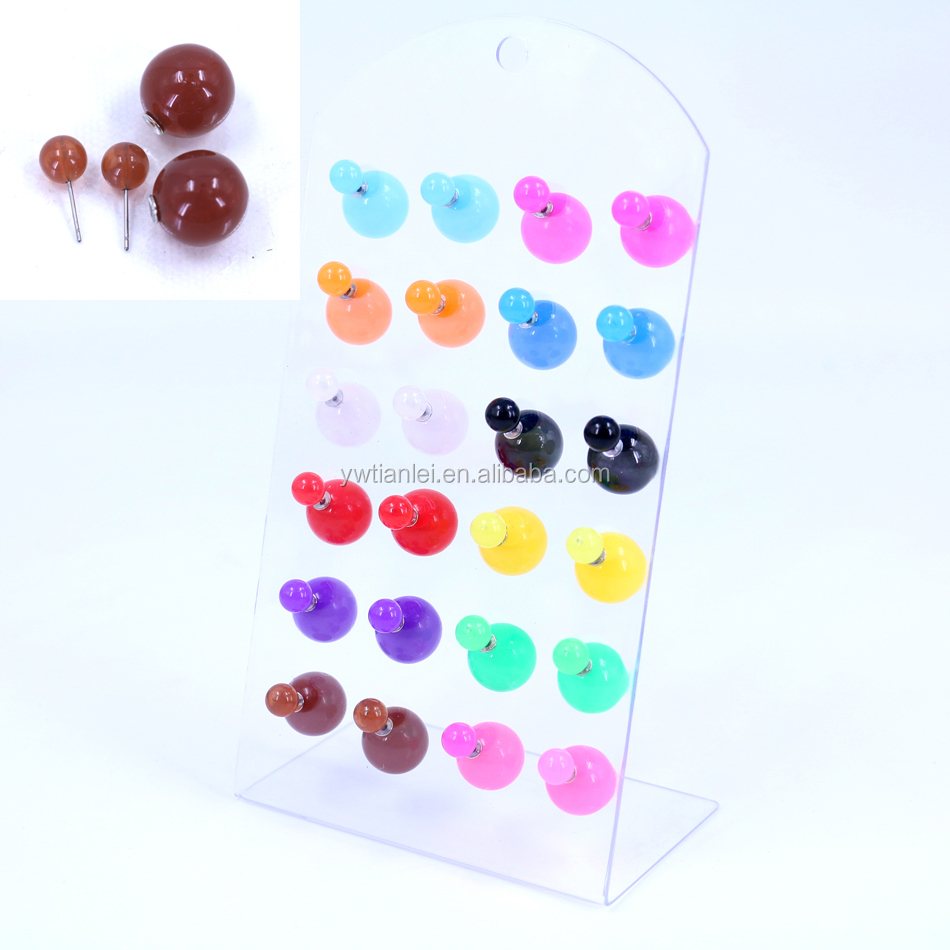 12pairs Card Packing Mixed Colors In random Cheap 8+16mm Front And Back Jelly Resin Ball Cute Double Earrings