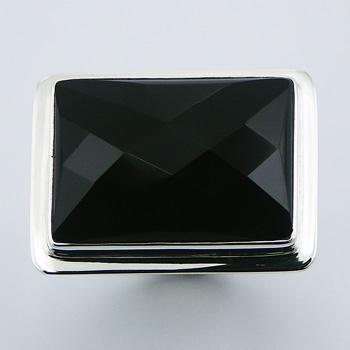 Black Agate Sterling Silver Ring Rectangular Faceted Gemstone