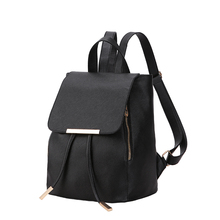 Factory Wholesale Travel Shoulder Black Pu Leather Women Fashion Backpack