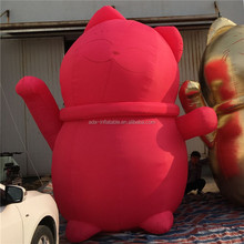 Cute Event Party Decoration Red Cat Inflatable Model For Promotion A305
