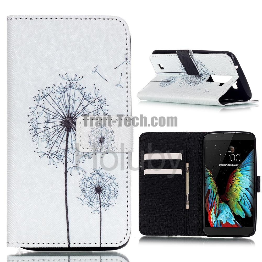 Phone Cover for LG K10, Cross Pattern Stand Wallet TPU+ PU Leather Case for LG K10/ K420N/ K430DS Dandelion