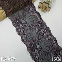 Spandex lace with two-colors 16cm black lace trimming