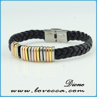 Hot Sale Factory Wholesale Sideways Cross Genuine Leather Bracelet with Stainless Steel Closure