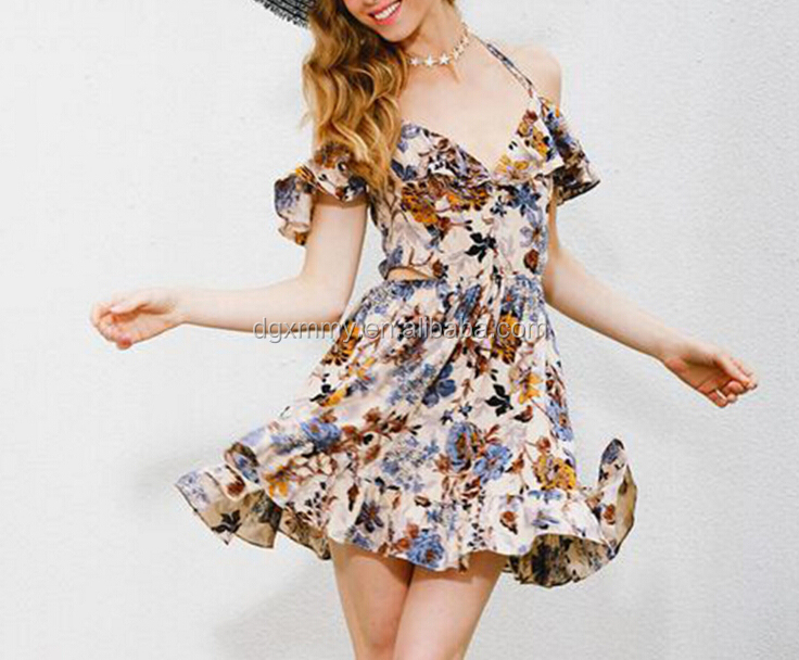 European Style Fashion Summer Dress Women Vintage Floral Printed Dress 2017 New Arrival V Neck Backless Sexy Mini Dresses