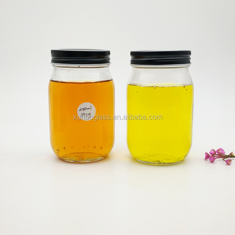480ml Glass Mason Jar for Sauce Jam Pickles canning with lids