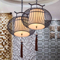 Round iron birdcage pendant lamp for restaurant hotel LED Modern new Chinese style lights