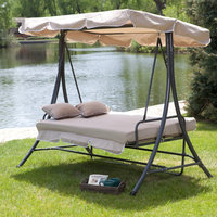 Coral Coast Lazy Caye 3 Person All-Weather Swing Chair and Bed with Toss Pillows - Cappuccino