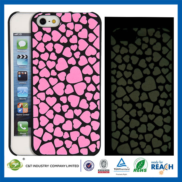 C&T Bright color hearts glow phones covers cases for iphone5