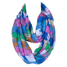 Custom-made world map printed voile spring autumn loop scarf with multi colors